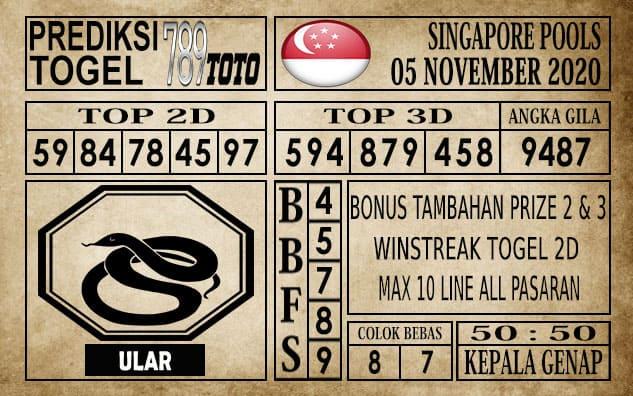 Prediksi Singapore Pools Hari ini 05 November 2020