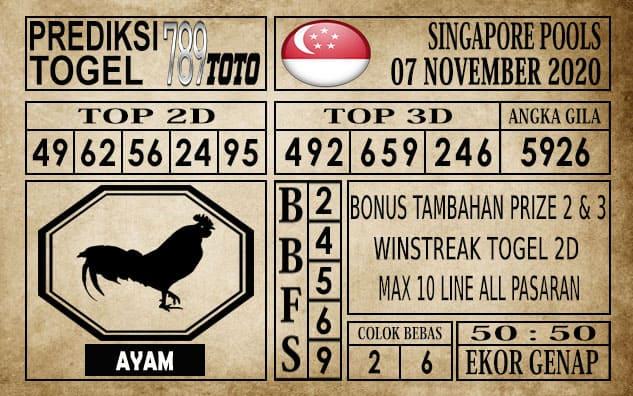 Prediksi Singapore Pools Hari ini 07 November 2020