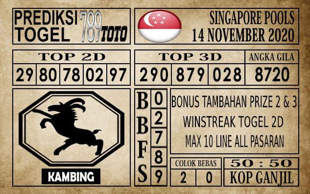 Prediksi Singapore Pools Hari ini 14 November 2020