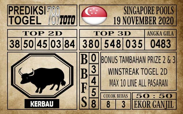 Prediksi Singapore Pools Hari ini 19 November 2020