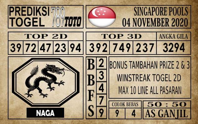 Prediksi Singapore Pools Hari ini 04 November 2020
