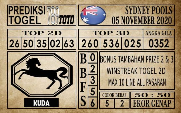 Prediksi Sydney Pools Hari ini 05 November 2020