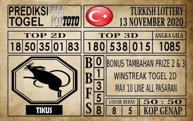 Prediksi Turkish Lottery Hari ini 13 November 2020
