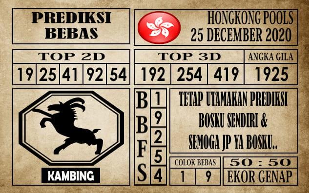 Prediksi Hongkong Pools Hari Ini 25 Desember 2020