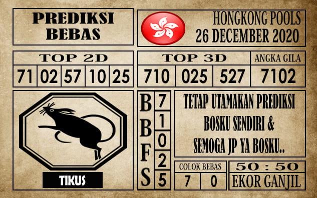 Prediksi Hongkong Pools Hari Ini 26 Desember 2020