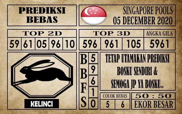 Prediksi Singapore Pools Hari ini 05 Desember 2020 terupdate selalu dihadirkan sebagai pertimbangan untuk pecinta togel online dal am meracik angka unggulan