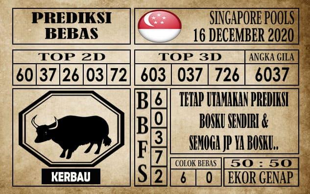 Prediksi Singapore Pools Hari ini 16 Desember 2020
