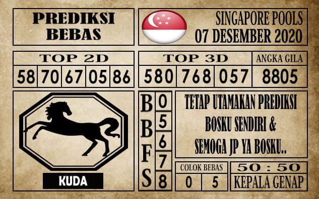 Prediksi Singapore Pools Hari ini 07 Desember 2020