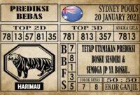 Prediksi Sydney Pools Hari Ini 20 Januari 2021