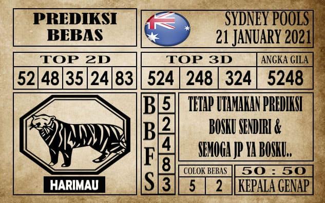 Prediksi Sydney Pools Hari Ini 21 Januari 2021