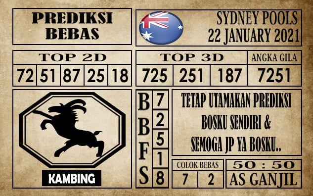 Prediksi Sydney Pools Hari Ini 22 Januari 2021
