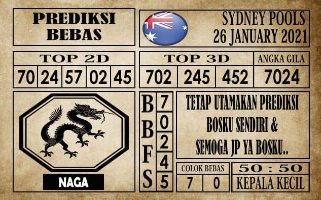 Prediksi Sydney Pools Hari Ini 26 Januari 2021