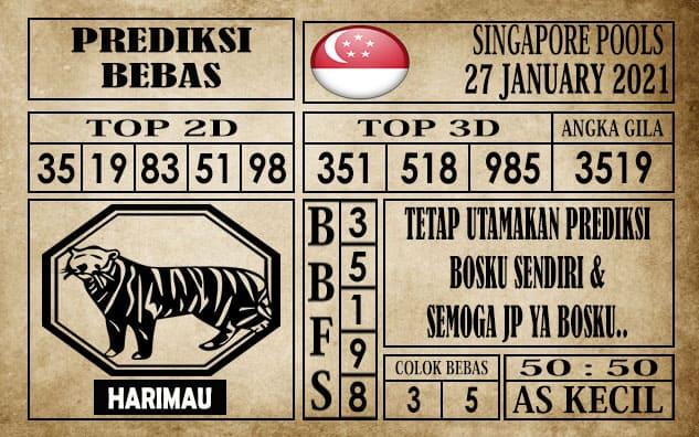 Prediksi Singapore Pools Hari ini 27 Januari 2021