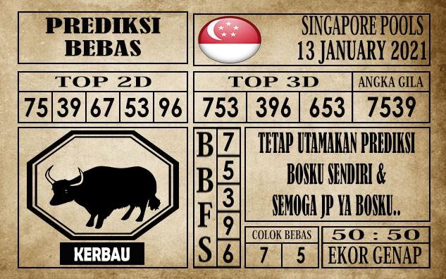 Prediksi Singapore Pools Hari ini 13 Januari 2021