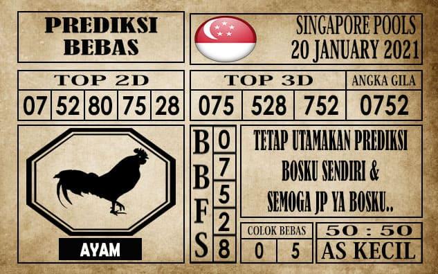 Prediksi Singapore Pools Hari ini 20 Januari 2021