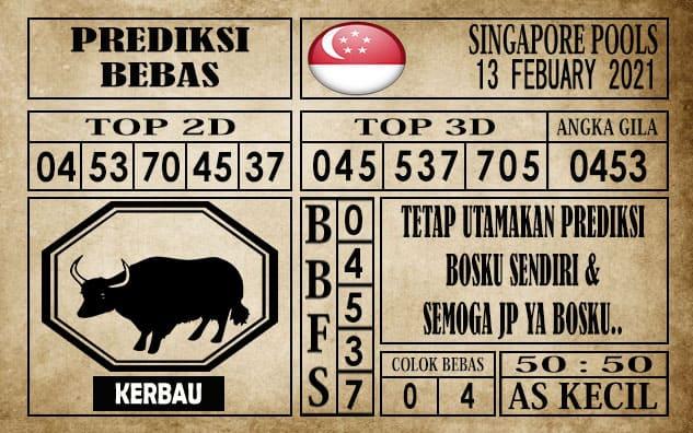 Prediksi Singapore Pools Hari ini 13 Februari 2021