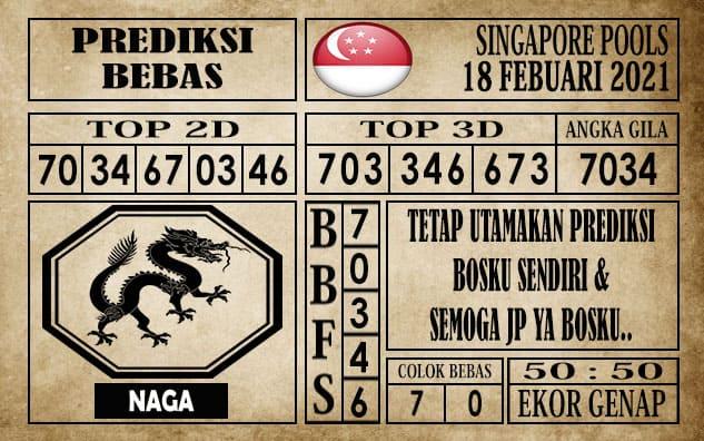 Prediksi Singapore Pools Hari ini 18 Februari 2021