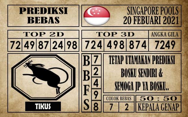 Prediksi Singapore Pools Hari ini 20 Februari 2021