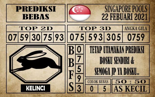Prediksi Singapore Pools Hari ini 22 Februari 2021