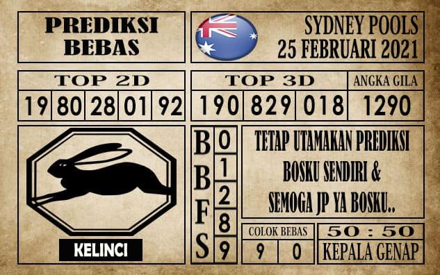 Prediksi Sydney Pools Hari ini 25 Februari 2021