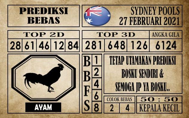 Prediksi Sydney Pools Hari ini 27 Februari 2021