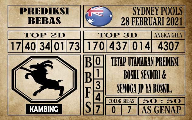 Prediksi Sydney Pools Hari ini 28 Februari 2021