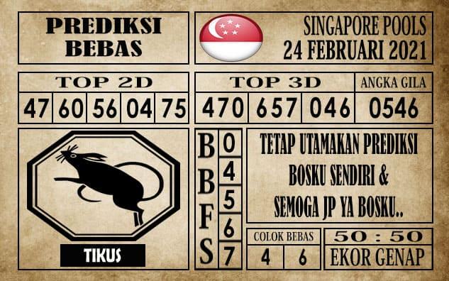 Prediksi Singapore Pools Hari ini 24 Februari 2021
