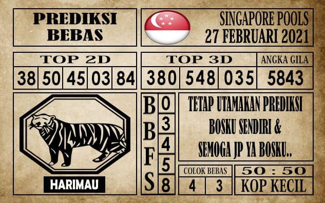 Prediksi Singapore Pools Hari ini 27 Februari 2021