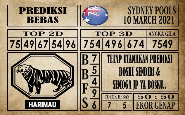 Prediksi Sydney Pools Hari Ini 10 Maret 2021