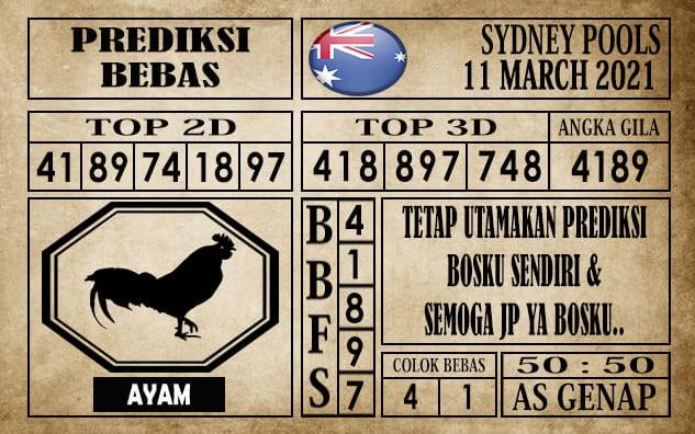 Prediksi Sydney Pools Hari Ini 11 Maret 2021