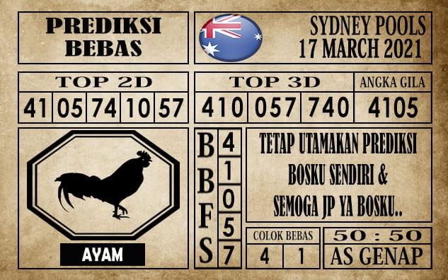 Prediksi Sydney Pools Hari Ini 17 Maret 2021