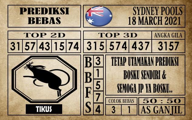 Prediksi Sydney Pools Hari Ini 18 Maret 2021