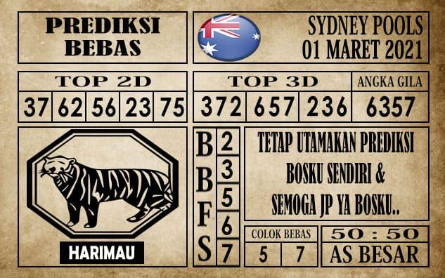 Prediksi Sydney Pools Hari ini 01 Maret 2021