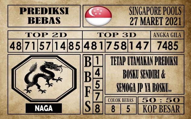 Prediksi Singapore Pools Hari ini 27 Maret 2021