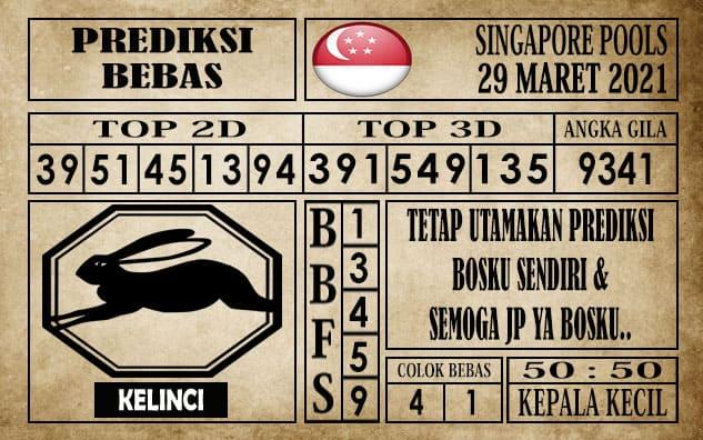 Prediksi Singapore Pools Hari ini 29 Maret 2021