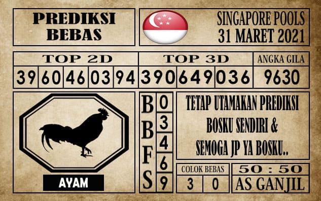 Prediksi Singapore Pools Hari ini 31 Maret 2021