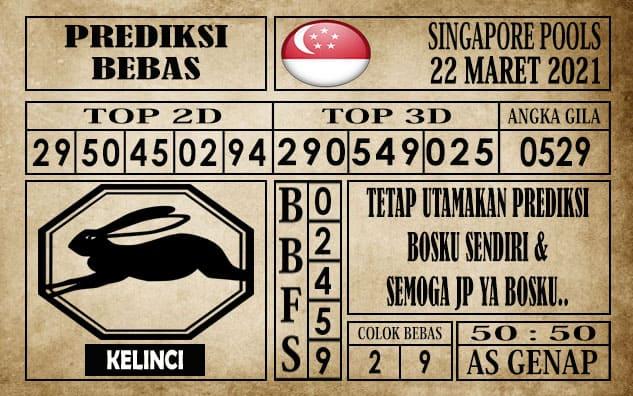 Prediksi Singapore Pools Hari ini 22 Maret 2021