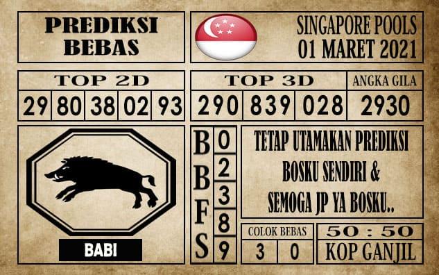Prediksi Singapore Pools Hari ini 01 Maret 2021