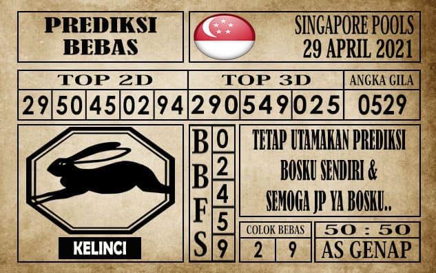 Prediksi Singapore Pools Hari ini 29 April 2021