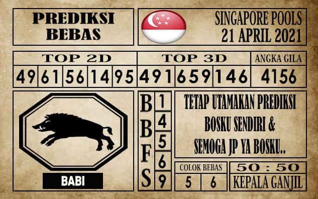 Prediksi Singapore Pools Hari ini 21 April 2021