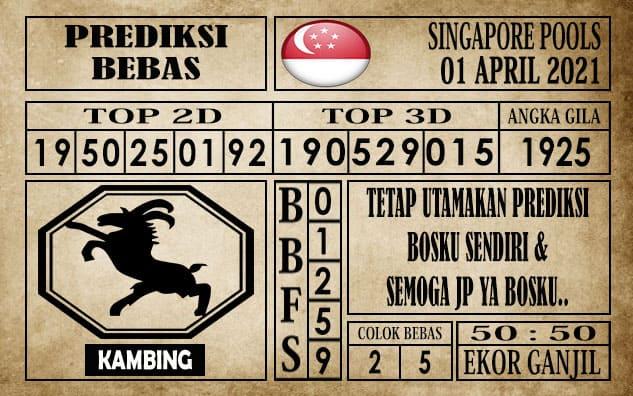 Prediksi Singapore Pools Hari ini 01 April 2021