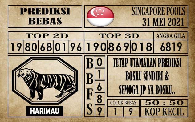 Prediksi Singapore Pools Hari ini 31 Mei 2021