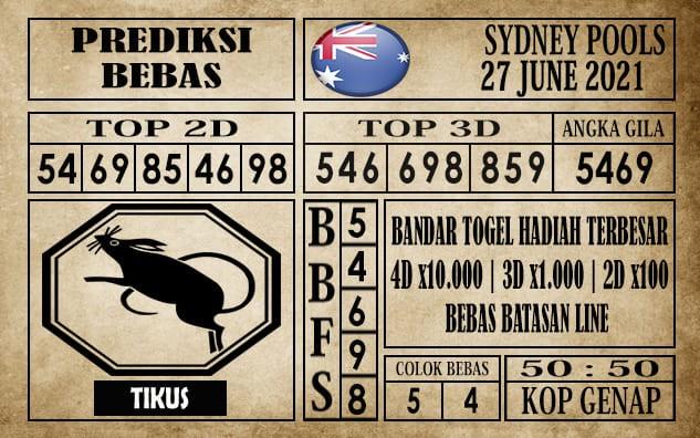 Prediksi Sydney Pools Hari Ini 27 Juni 2021