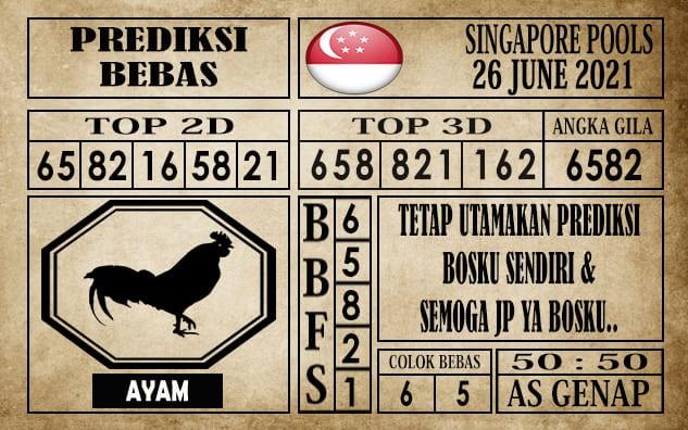 Prediksi Singapore Pools Hari ini 26 Juni 2021