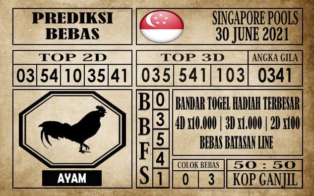 Prediksi Singapore Pools Hari ini 30 Juni 2021