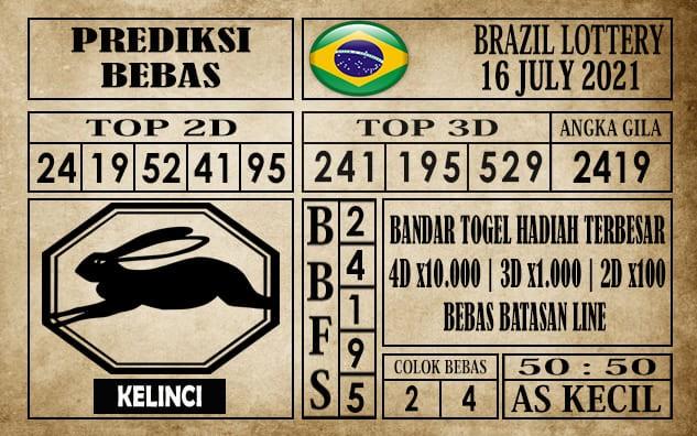 Prediksi Brazil Lottery Hari Ini 16 Juli 2021
