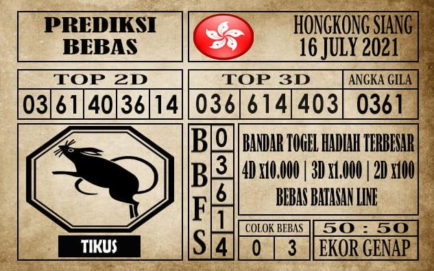 Prediksi Hongkong Siang Hari Ini 16 Juli 2021