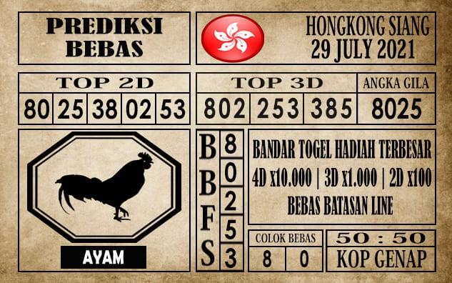 Prediksi Hongkong Siang Hari Ini 29 Juli 2021