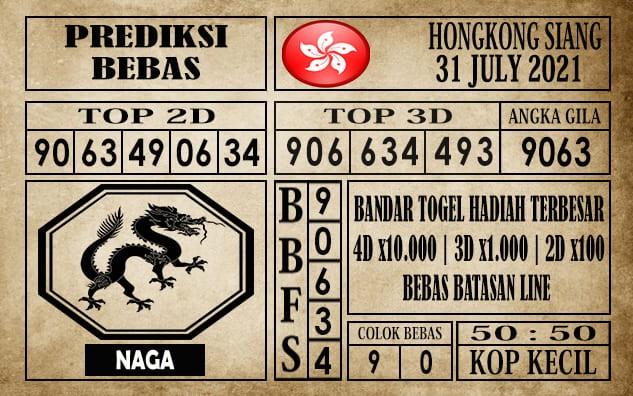 Prediksi Hongkong Siang Hari Ini 31 Juli 2021