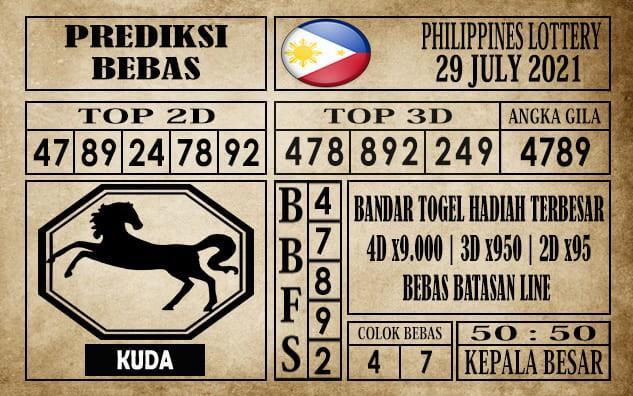 Prediksi Filipina PCSO Hari Ini 29 Juli 2021